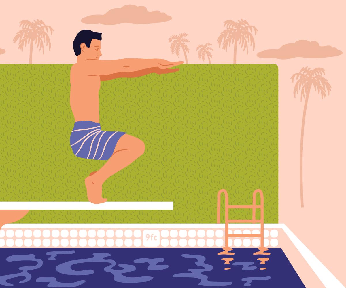 Bikram Yoga pose by the pool