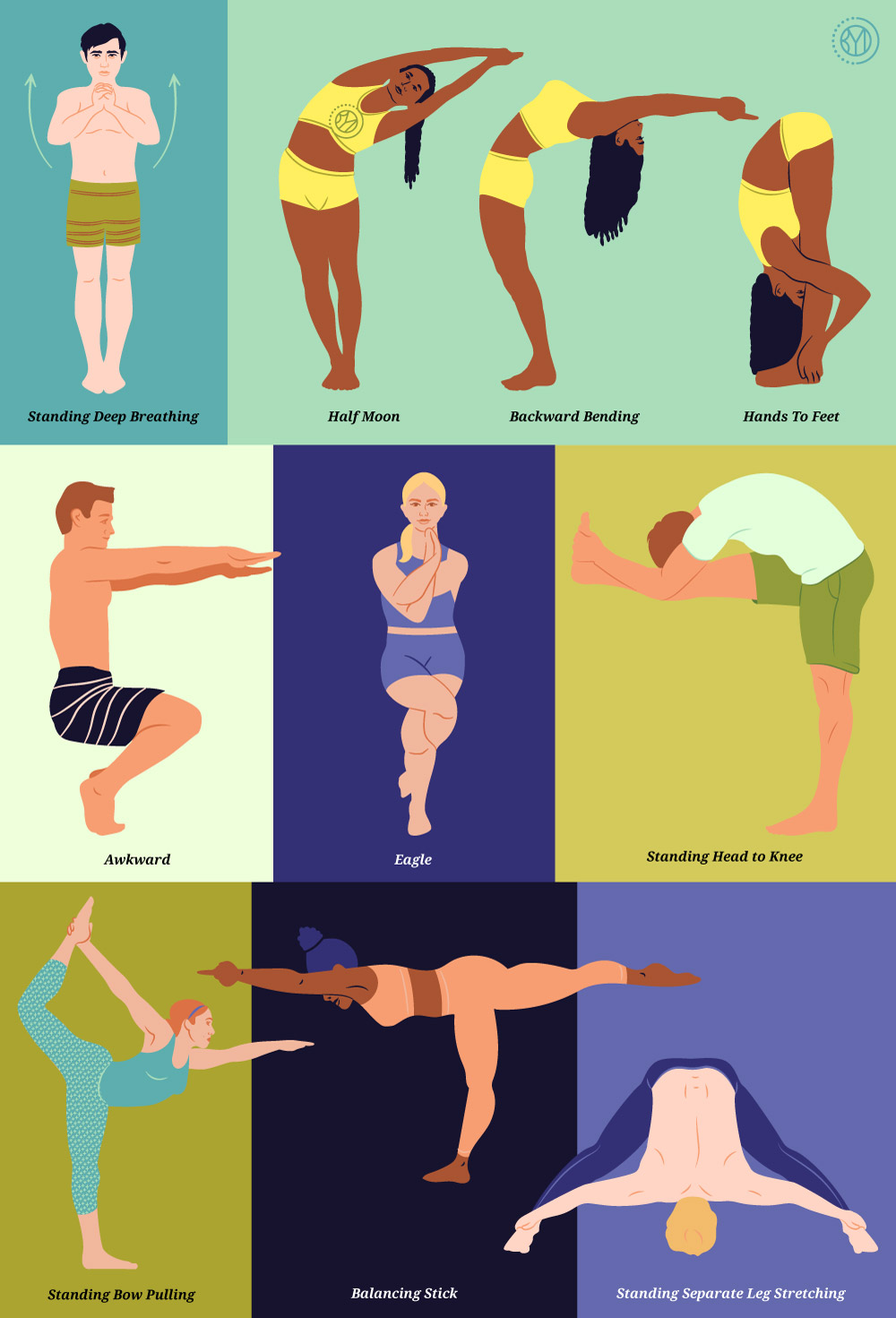 Bikram Sequence poses 1-8