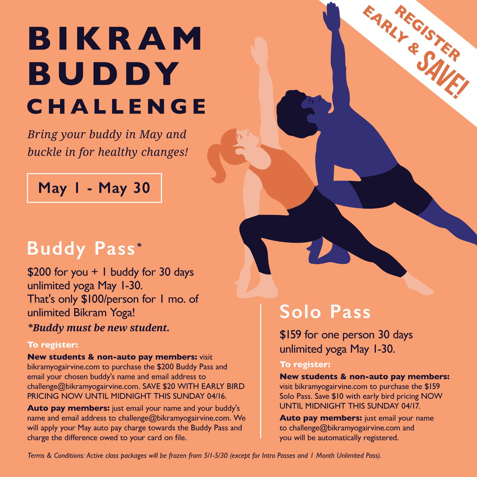 Bikram Buddy Challenge going on May 1- May 30